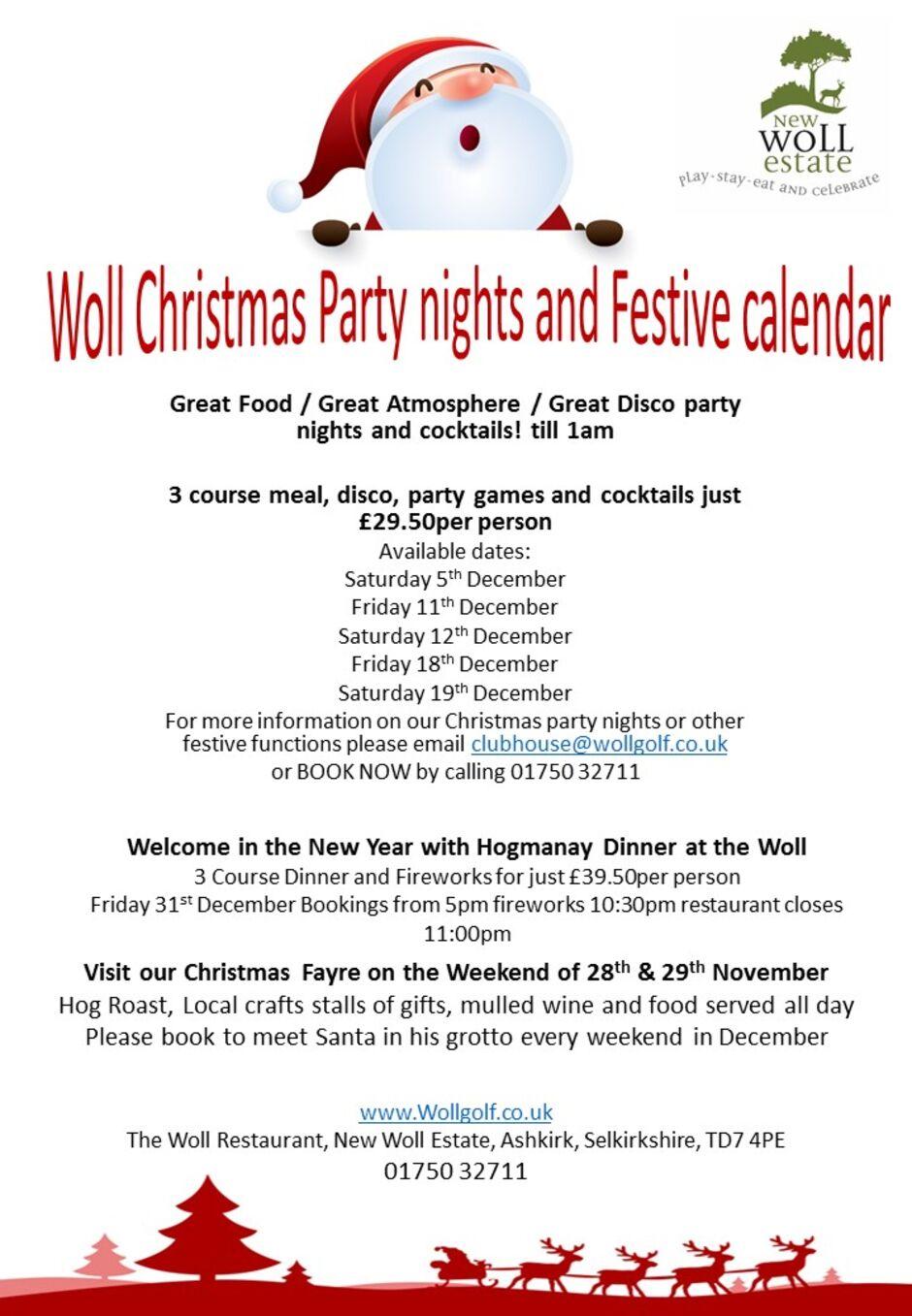 Woll Christmas party nights and Santas Grotto