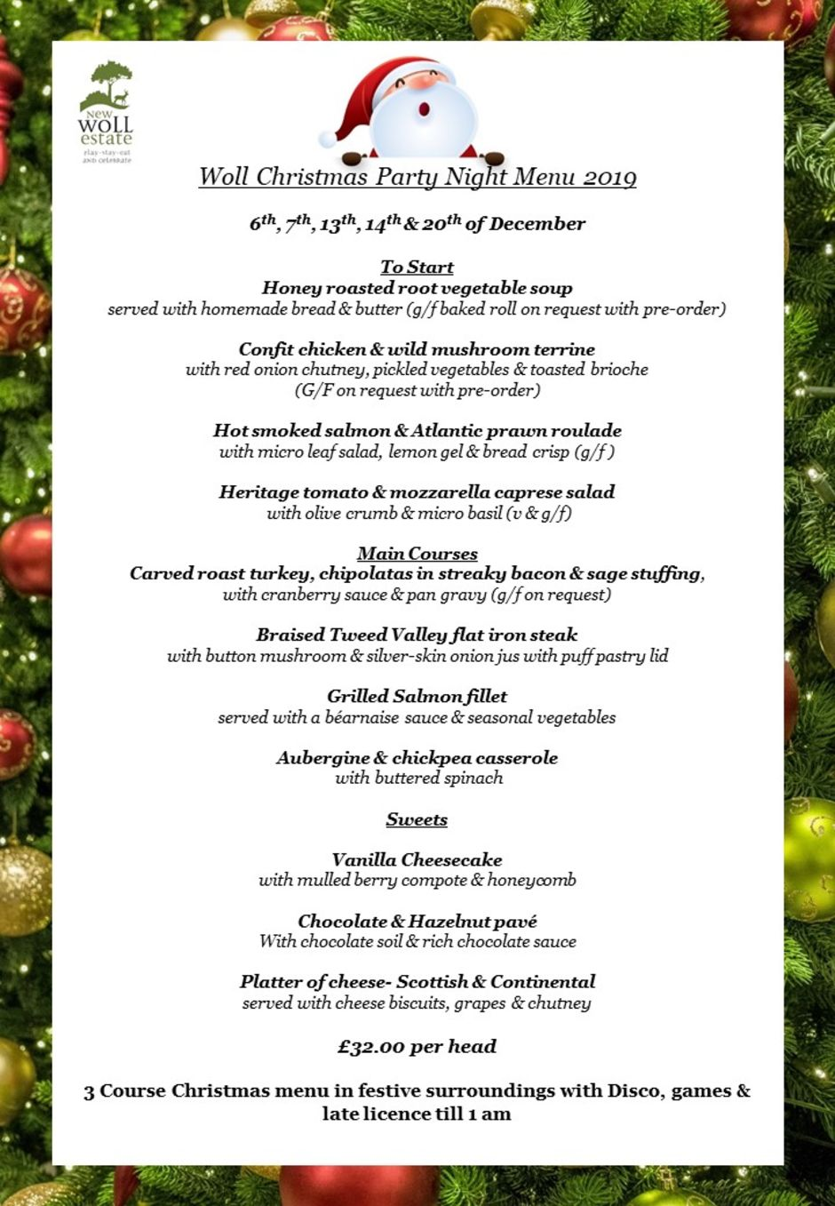 Woll Christmas Party night menu