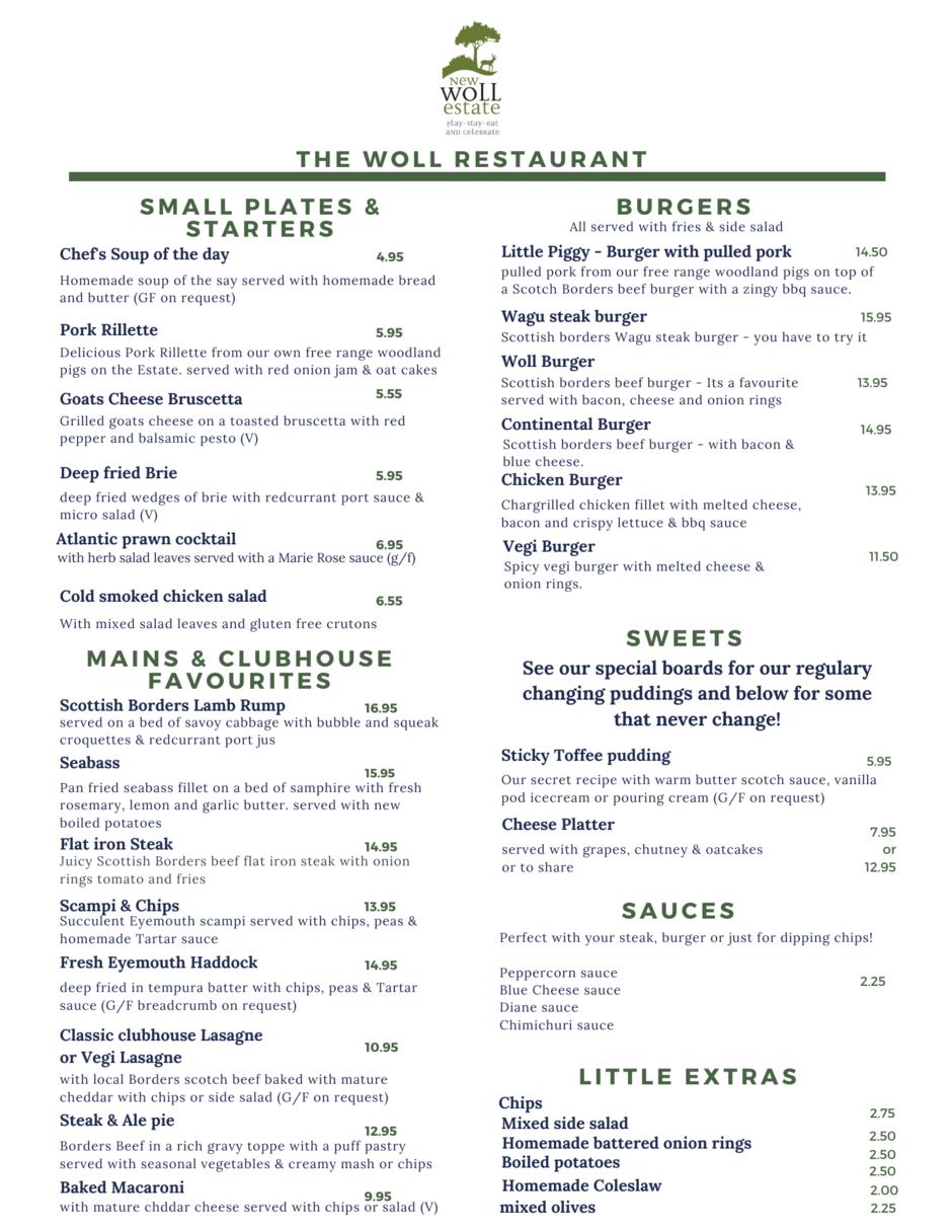 Woll Restaurant menu
