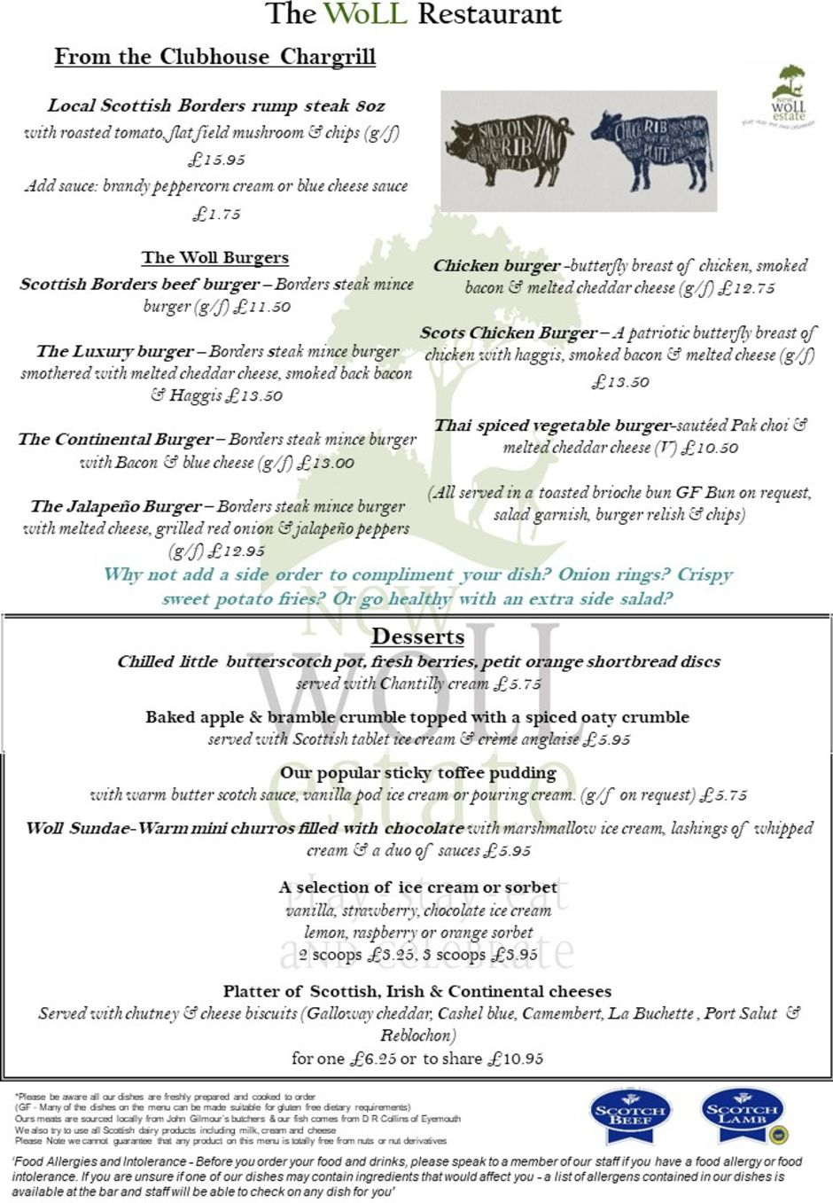Woll Autumn Menu without specials