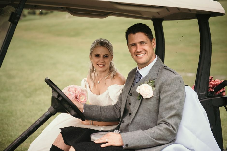 Woll Wedding and golf buggy