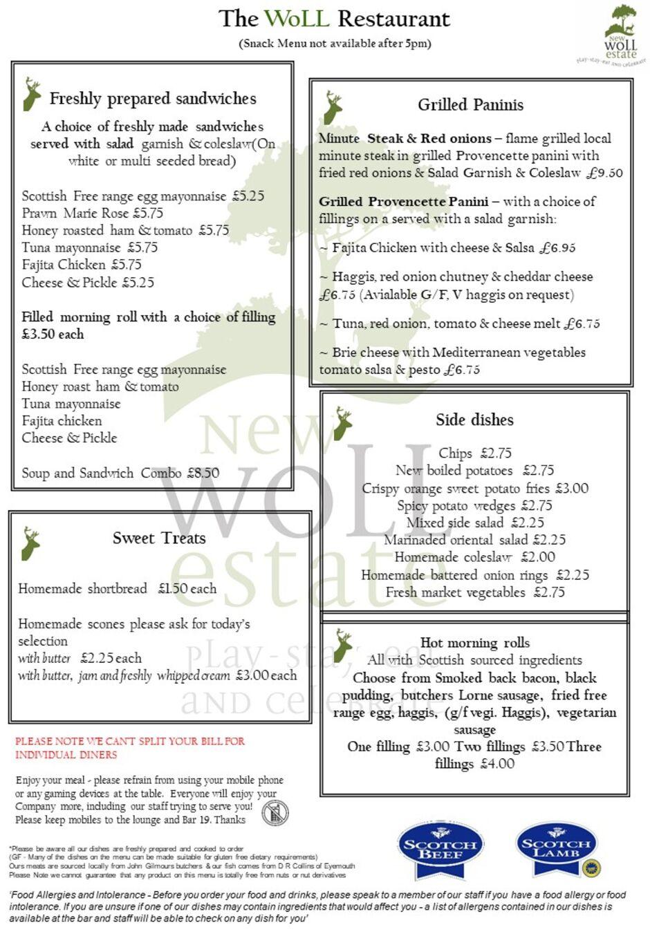Wol Restaurant snack menu
